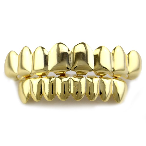 Fashion 8 Teeth Fangs 18K Real Gold Plated Rhodium Hiphop Teeth Grillz TOP & BOTTOM Rapper Dental Grills Body Jewelry Sets