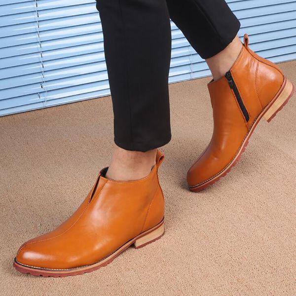 Hommes Martin Bottes Britannique Style Chevalier Bottes Chaussures Véritable En Cuir Cheville Oxford Bottes Zipper Botte De Moto Adolescent Populaire Chaussures De Plein Air