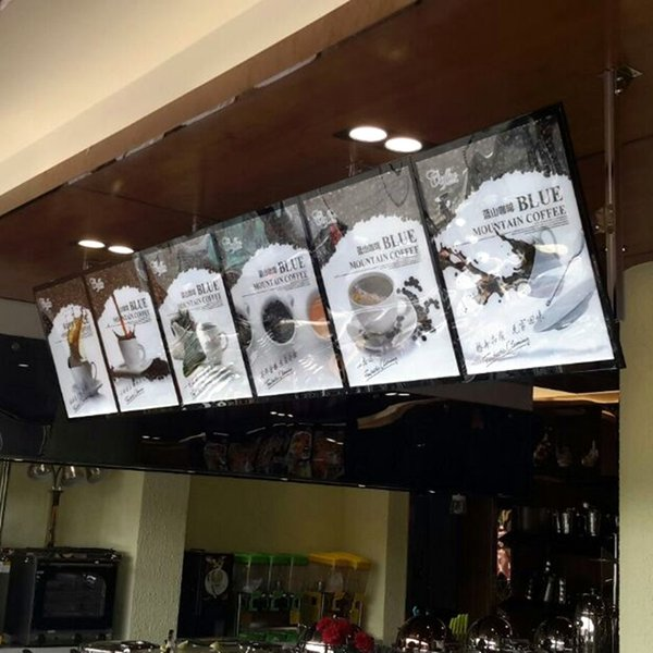 Wall Mounted Restaurant LED Menu Poster Frame Lightbox,Ultra-Thin Magnetic Aluminum Slim Menu Board
