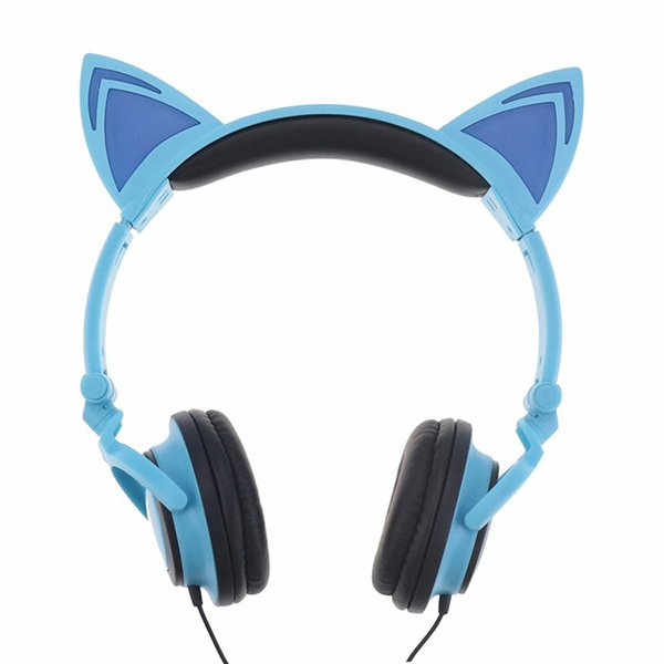 Foldable Flashing Cat Ear Headphones Glowing Cosply Headsets Gaming Headband Earphone with LED Light for Cell Phone PC Laptop Computer MP3