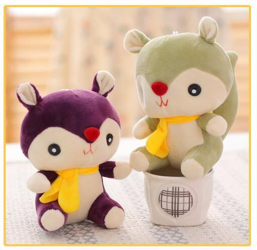 NEW Gift Plush Toy 6Colors 14CM Little Cute Squirrel Plush Stuffed TOY , BIG Tail Soft Figure DOLL Key Chain TOY DOLL
