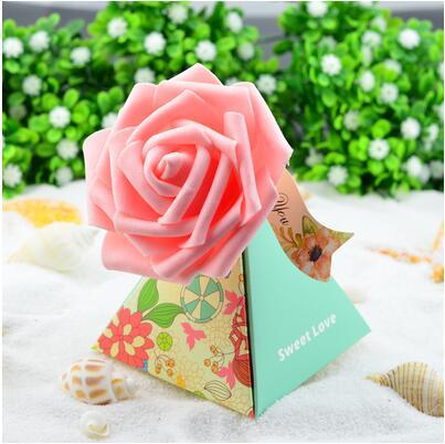 100 Pcs European style purple pink flower color Pearl paper triangle pyramid Wedding box Candy Box gift boxs wedding favour boxes THH1