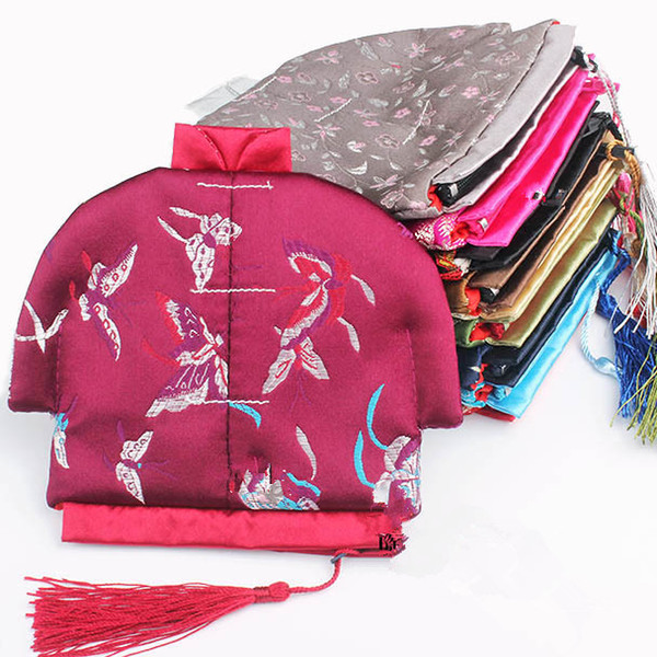 Vintage Chinese Clothes Small Coin Purse Jewelry Zip Bags Tassel Storage Pack Silk Brocade Craft Gift Packaging Pouch 50pcs/lot