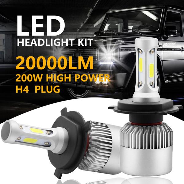 top popular 2019 2pcs 200W 20000LM H4 HB2 9003 LED Headlight Kit Hi Lo Power Bulbs 6500K White Free Shipping 2019
