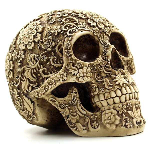 Wholesale- Halloween Home Bar Table Grade Decorative Craft Human Skull Resin Mask Cluster Flower Human Skeleton Skull Decoration With Box