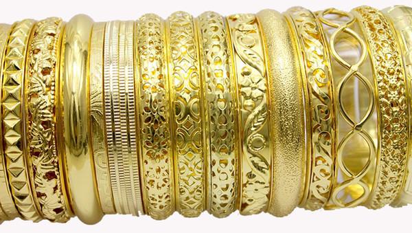 Gold Armreifen Armbänder für Frauen Indischen Schmuck Pulseiras Armband Jonc Clearance Bangle Armband Indiens Großhandel Mix Lot 20 stücke