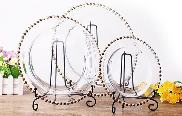 13 pouces rond pas cher mariage cear argent or verre perlé chargeur pates plaque de verre pour la décoration de table de mariage LLFA