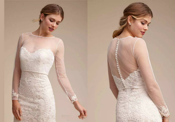 top popular Sheer Wedding Capes Simple Shawl For Sweetheart Wedding Dresses Elegant Long Sleeve Bridal Lace Jackets White Wedding Accessories Applique 2021