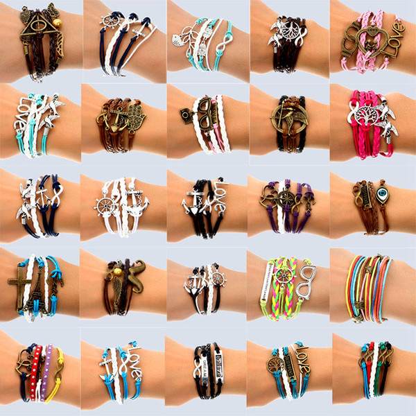 best selling Hand Made 30 Mix Style Infinity leather alloy fashion cuff Bracelet Charm Bracelet Vintage Accessories Lover Gifts