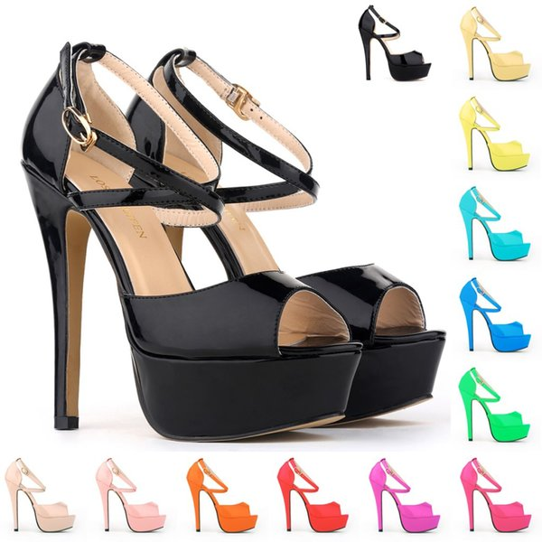 Fashion open Toe High Heels Patent Leather Platform Women Summer Dress Shoes Beach Shoes Cleats High Heel For Women WS05