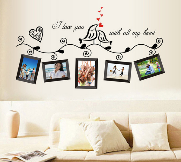 45*60cm Love Bird Photo Frame sticker Photo Picture Frame Removable Wall Sticker Wall Decal Home Decor DIY Art