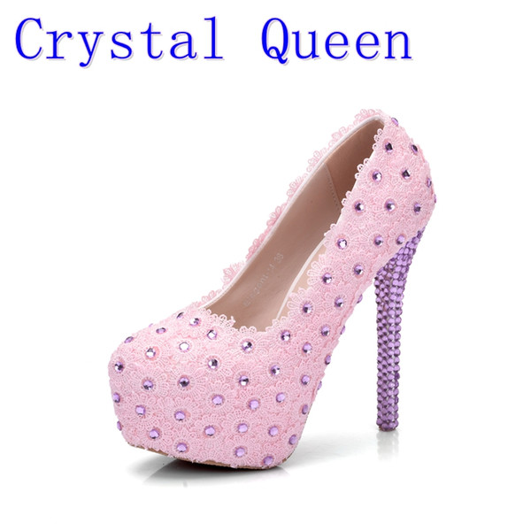 Crystal Queen Pink Lace Flower Wedding Shoes Rhinestone 14cm Ultra High Heels Platform Shoes Women's Single Bridal Dress Shoes