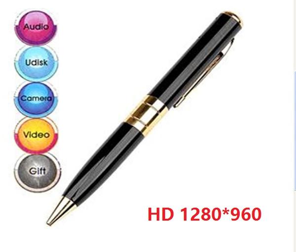 1280*960 HD Pen Camera Digital Video Recorder Ball Point Pen mini camcorder pen DVR mini camera silver/golden black retail box 100pcs