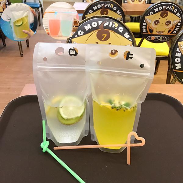 Transparente selbstversiegelte Plastikgetränkebeutel Milch trinken Kaffee Container trinken Fruchtsaftbeutel Lebensmittel Aufbewahrungstasche IA543