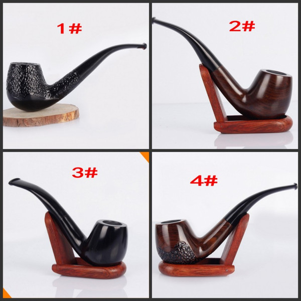 Ebony Wood Smoking Pipe Handmade Black Tobacco Pipe 9mm Filter Wooden cigarette pipe free shipping