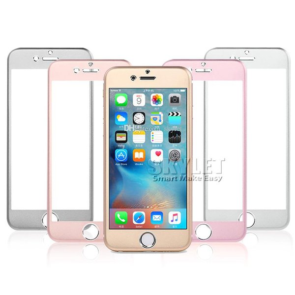 For iphone 6 Titanium alloy Explosion-proof Glass protection film color Tempered glass Full screen Radian protector for iphone 6 plus