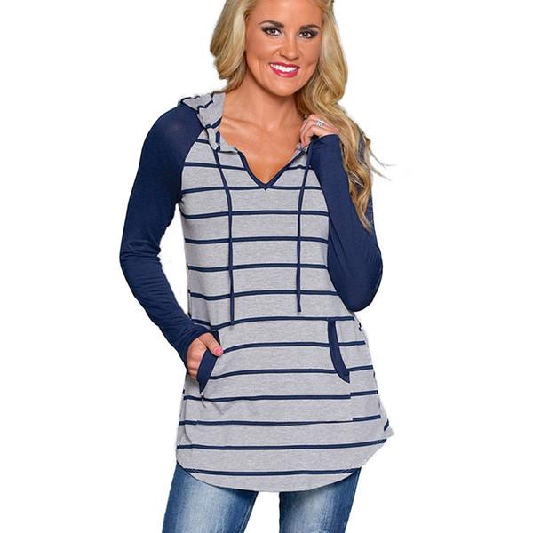 Sonbahar kış kadın mavi çizgili orta uzunlukta kapüşonlu kazak uzun kollu cep T-shirt tops