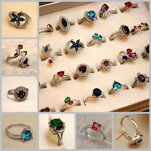 30 Pcs Do Vintage 925 Prata Esterlina Pequena Geométrica Anéis de Pedra Natural para As Mulheres Aneis Femininos Moda Anel de Dedo Por Atacado