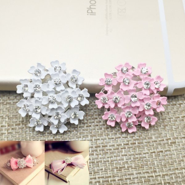 50pcs Rhinestones Flower Jewelry Findings Metal strass para artesanato Buckle Crystal Button Wed Hair Accessories Charms Drilling Applique