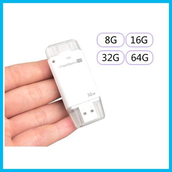 2017 8g 16g 32g 64g usb i-flash drive para iphone 5 / 5s / 6/6 s / 6 plus / ipad suporte plugue do relâmpago todos os dispositivos hd com 8-64g stick usb