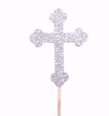 custom silver Glitter cross Baptism Cupcake Toppers - Christening wedding baby shower toothpicks birthday decorations Party Supplies Event