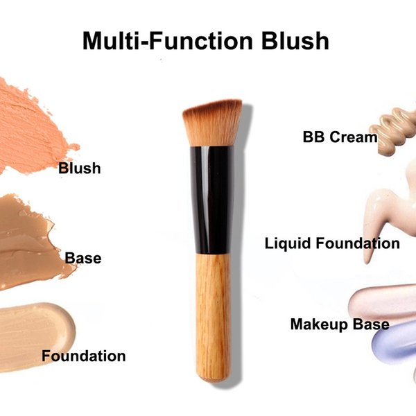 Wholesale- Professional Bamboo Foundation Brush Blush Angled Flat Top Base Liquid Cosmetic Makeup Brush