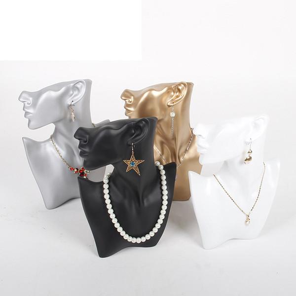 Nova Resina Retrato Modelo Colares Brincos De Rack de Jóias Display Stand Lado Cabeças Mulheres Manequim Brincos Titular Display Adereços
