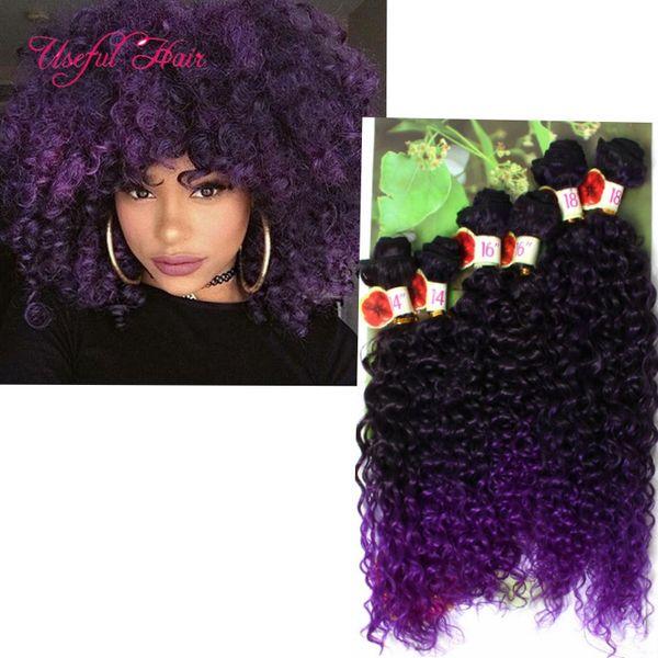 Synthetic weft hair 6PCS/LOT black ombre bug,blonde Jerry curl crochet hair extensions crochet braids hair weaves marley jumbo braids twist
