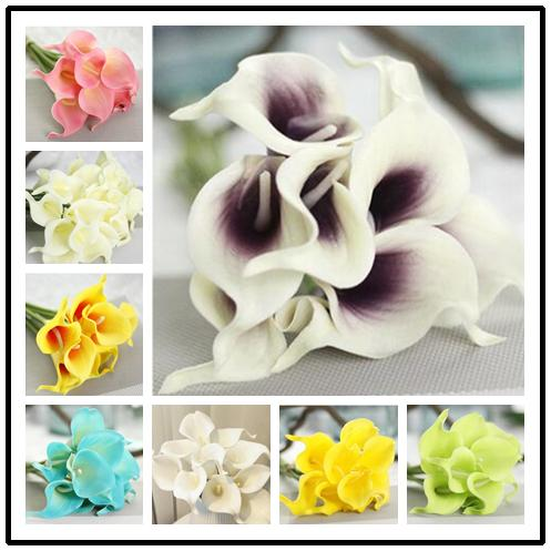 6 Colors Upick--20pcs/lot Real Touch Pu Calla lily Wedding Bridal Bouquet Wedding decorative flowers & wreaths