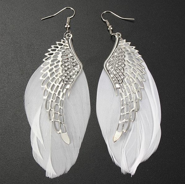 Ohrringe Schmuck Frauen Damen Engel Flügel Zirkon Gold Silber 1 Paar