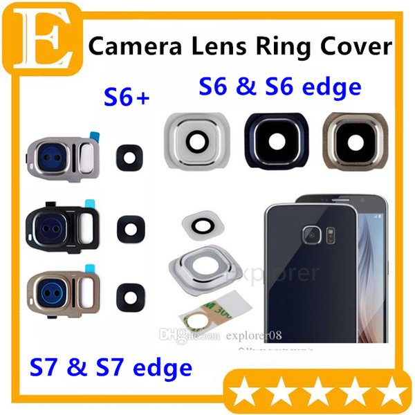 Rear Back Camera Frame Cover With Glass Lens Flash Diffuser For Samsung Galaxy S7 S6 Edge Plus G930 G935 G920 G925 G928 100PCS
