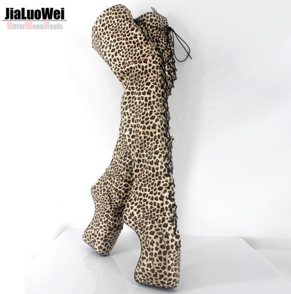 NEW Extreme High Heel 18cm/7'' lace up Leopard Thigh High Ballet Boots Man Hoof Heelless Sexy Fetish Over-the knee Boot SM shoes