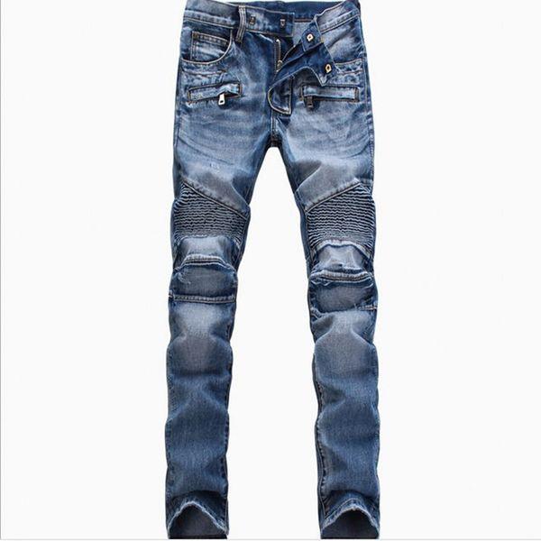 All'ingrosso-Uomini Fashion Brand Designer Strappato Biker Jeans uomo Distressed Moto Denim Joggers lavato jeans a pieghe pantaloni neri blu