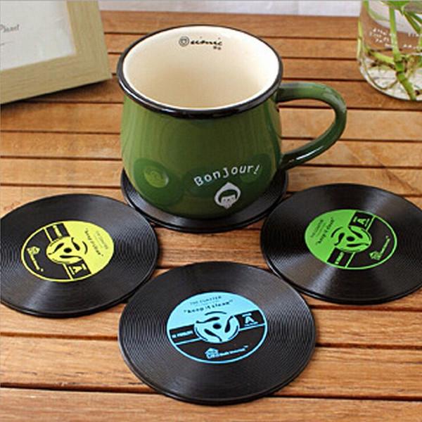 Venta caliente 4 Unids Vinilo Coaster Retro Vinilo CD Record Copas Holder Mat Vajilla Mantel Para Bar Home Accesorios
