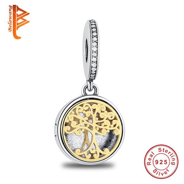 BELAWANG 925 Sterling Silver Bead Charm oro famiglia radici a due toni ciondolo medaglione Bead Fit Donne Pandora Braccialetto Del Braccialetto Gioielli Fai Da Te