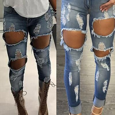 Wholesale- 2017 Latest Machine Jeans New Womens Ripped Destroyed Distressed Fitted Low Rise Skinnys Hot Sale