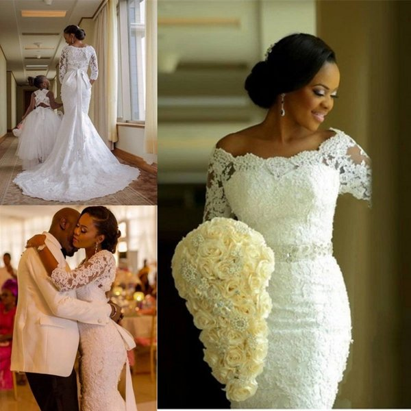 top popular Latest 3 4 Sleeve Lace Mermaid Wedding Dresses Appliques Beaded Bride Dresses Zipper Back Wedding Gowns 2019