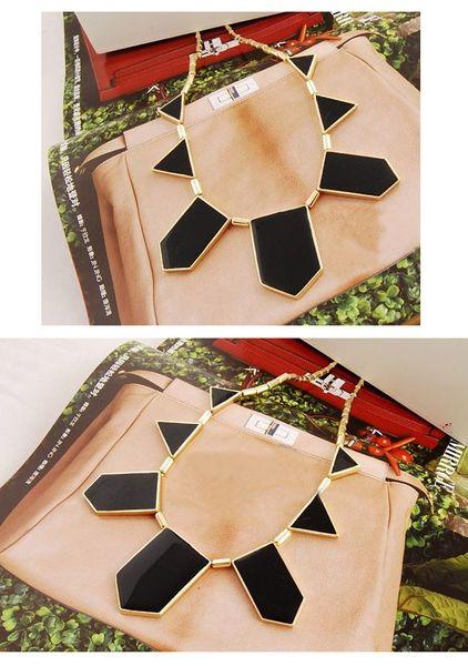 Colar de ouro triângulo vintage colar gargantilha colares esmalte curto