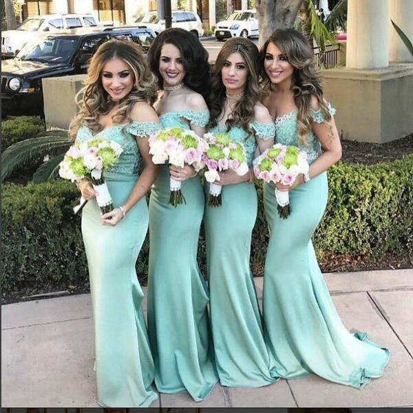 2018 Mint Green Mermaid Bridesmaid Dresses Off Shoulder Lace Appliques Long Maid Of Honor Dress Wedding Guest Party Prom Gowns Cheap