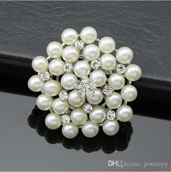 Bride Wedding Bouquet Pearl Brooch Imitation Silver Rhinestone Flower Brooches Pins Crystal Corsage Men Women Wedding Jewelry Breastpin