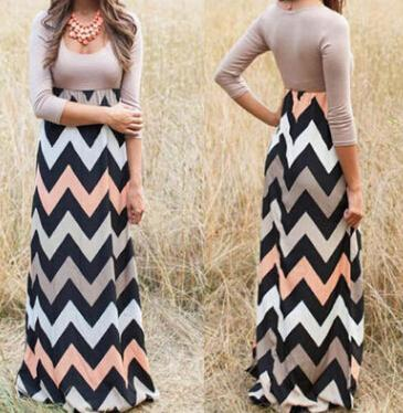 Summer Wave Striped print dre Bohemian Beach Dress Floor Length Casual Maxi Dress Woman Clothes summer plus size beach dresses Drop Shipping