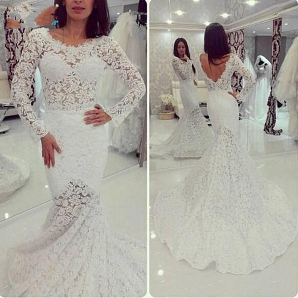 Großhandel Sheer Long Sleeve Lace Meerjungfrau Brautkleider Jewel ...
