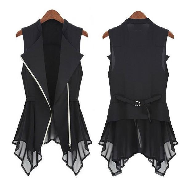Livraison gratuite 2015 nouvelle mousseline de soie veste printemps modèles d'automne femmes Slim Long veste Europe sans manches manteaux JacketS.M.L, XL