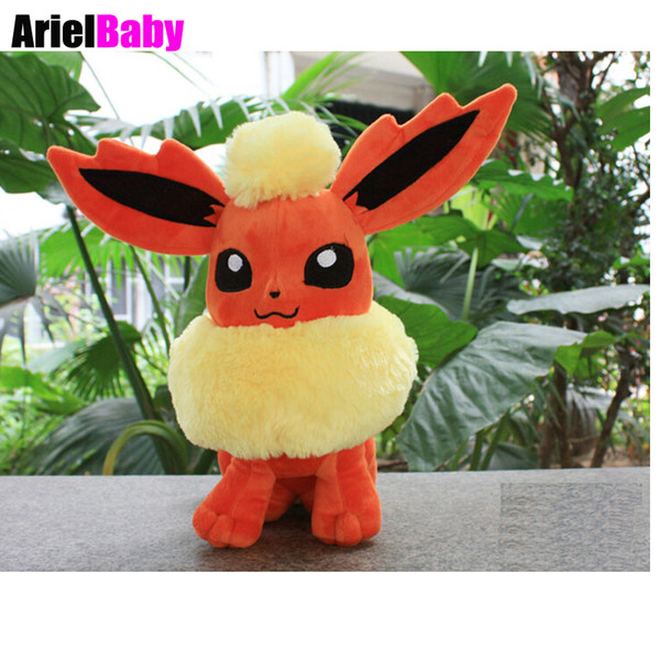 OHMETOY New Flareon Sitting Pose Peluche Doll Anime Figure Plush Brinquedos Kids Toys Gift Juguetes 24cm Baby Toy
