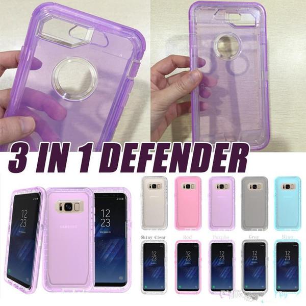 Para iphone Xs Máx. Claro Defender Funda de robot híbrida 3in1 Armadura de cristal Estuches completos para Iphone X XS MAX 6 7 8 más Samsung s7 s8 más note8