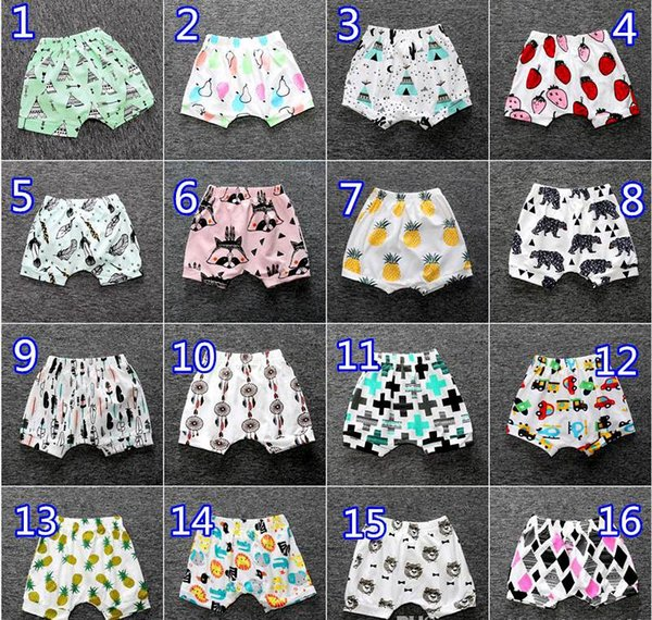 top popular Ins Baby Fox Shorts Summer Cotton PP Pants Fruit Lemon Animal Fox Infant Harem Shorts Kids Boys Girls Beach Clothes Geometric Figure Casual 2020