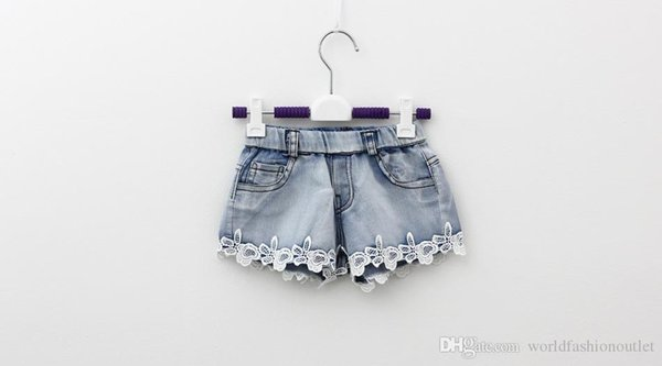 2015 enfants shorts enfants d'été denim shorts fille coréenne en dentelle shorts pour enfants Jeans Hot Pants 100-140 taille usine vente enfant