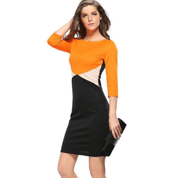 Großhandel Neue Dame orange weiß schwarz Mantel Casual Kleider ...