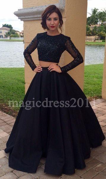 2019 zwei Stücke Schwarz Südafrikanische Prinzessin Prom Abendkleider Sexy Ballkleid Rüschen Mit Langen Ärmeln Party Empfang Kleid Sweep Zug