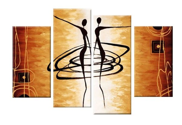 Art Hand Painted Oil Paintings Gift African Women Dance 4 pcs/set Wood No Framed Hanging Wall Decoration